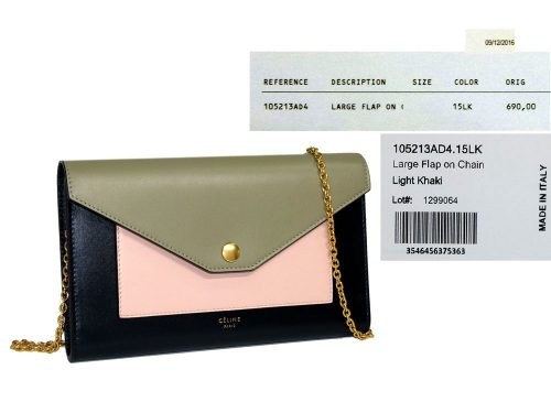 Celine Pocket Trifolded Multifunction Wallet on Chain in Multicolour Nude, Mineral , Light Khaki-0