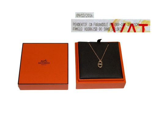 Hermes 39/ 41cm in Two Length Chaine d' Ancre Collection ! Rose Gold Farandole Pandent Necklace-0
