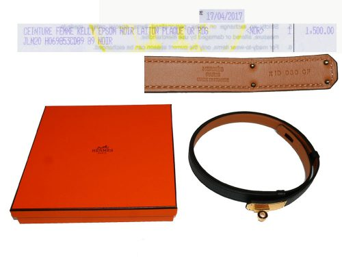Hermes Kelly Belt 18mm Black Epsom Gold Hardware - One Size-0