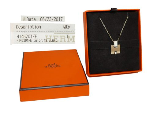 Hermes H146201FE Eileen H Blanc / Rose Gold Plated Pendent Necklace-0