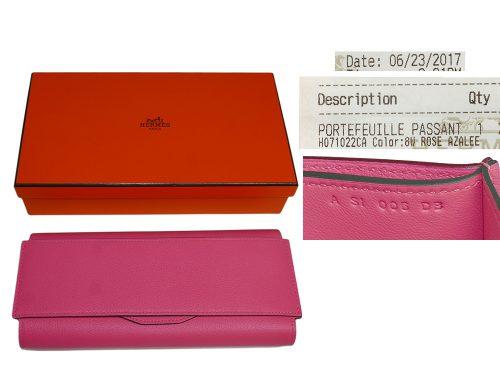 Hermes Rose Azalee Passant Evercolor Calfskin Long Wallet/ Clutch -0