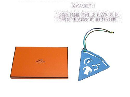 Hermes Petit H Pizza Blue Paradise/ Blue de Galice Bag Charm-0