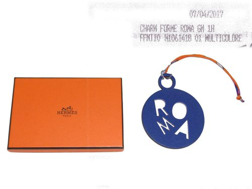 Hermes Charm ROMA Electric Blue/ Orange Petit H Bag Charm-0