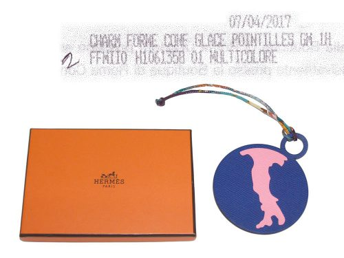 Hermes Petit H ROMA Map Electric Blue / Ebene Bag Charm-0