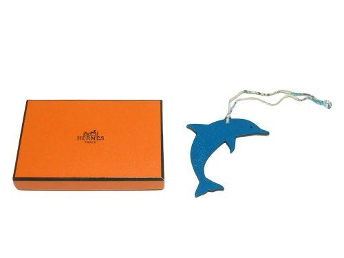 Hermes Bag Charm Dolphin Blue Izmir/ Etain Bag Charm-0