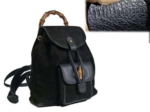 Gucci Vintage Classic Bamboo Black Suede Backpack Small -0