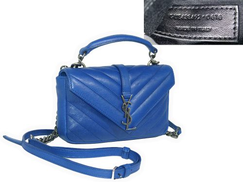 YSL Saint Laurent 438492 Royal Blue Monogram College Chain Wallet in Matelasse Leather-0