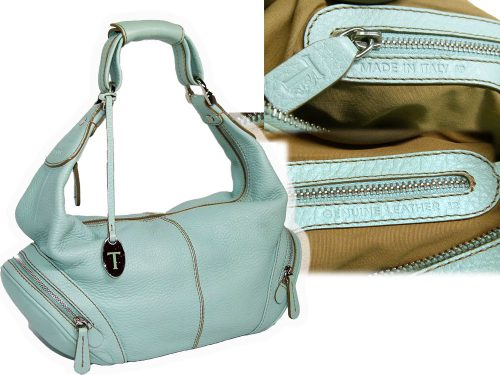 TOD'S Baby Blue Leather Mini Micky Hobo Bag -0