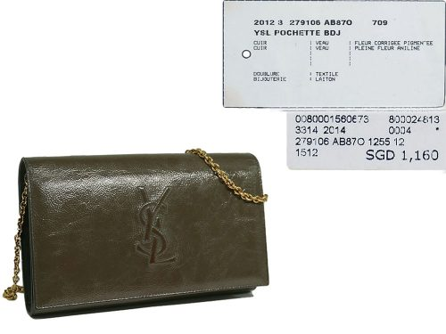 Yves Saint Laurent/ YSL Olive Green Envelope Leather Wallet on Chain Clutch/ Shoulder Bag-0