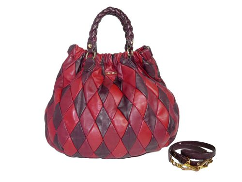 Miu Miu Tricolor Red/ Burgundy / Brown Vitelllo Tote with Strap-0