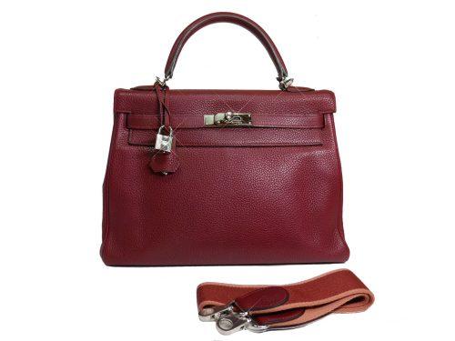 Rare Finds ! Hermes Kelly 32 Rouge H Amazon Strap Palladium Hardware Tote/ Shoulder Bag-0