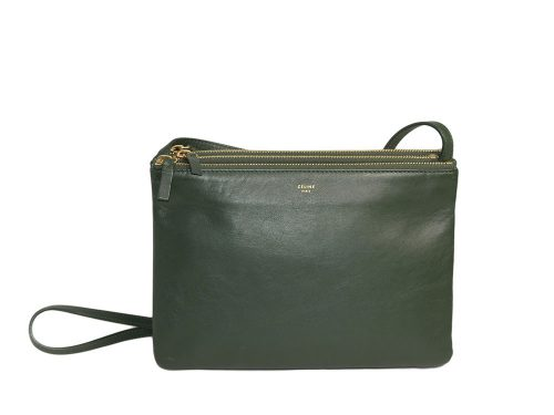 Celine 171453 Olive Green / Amazona Trio Bag Multiple Zipped 3-Way Large Messenger Bag in Smooth Lambskin -0