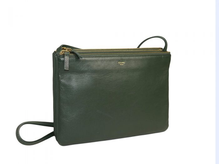 Celine 171453 Olive Green / Amazona Trio Bag Multiple Zipped 3-Way Large Messenger Bag in Smooth Lambskin -32491