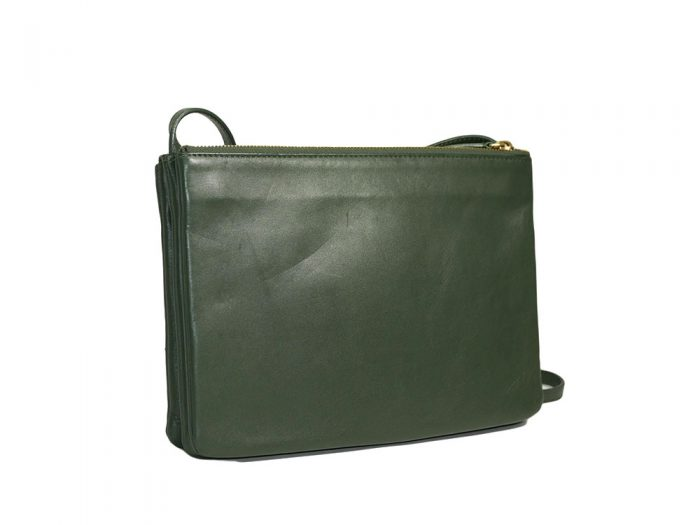 Celine 171453 Olive Green / Amazona Trio Bag Multiple Zipped 3-Way Large Messenger Bag in Smooth Lambskin -32494