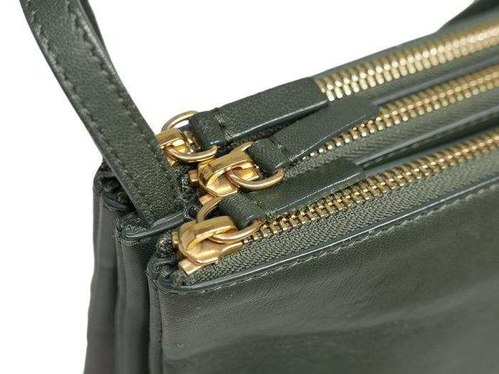 Celine 171453 Olive Green / Amazona Trio Bag Multiple Zipped 3-Way Large Messenger Bag in Smooth Lambskin -32498