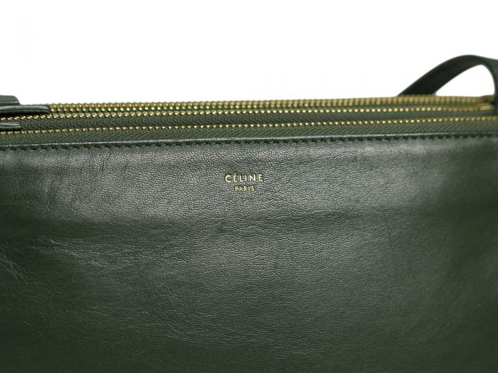 Celine 171453 Olive Green / Amazona Trio Bag Multiple Zipped 3-Way Large Messenger Bag in Smooth Lambskin -32499