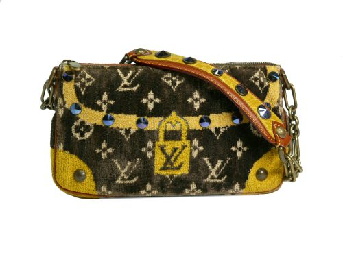 Limited Collection ! Louis Vuitton Monogram Pattern Terrycloth Velvet Trompe L'Oeil Pochette -0
