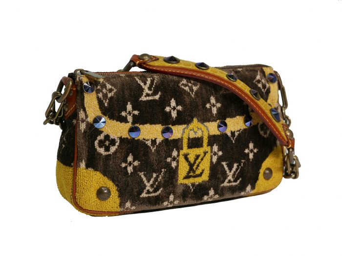 Limited Collection ! Louis Vuitton Monogram Pattern Terrycloth Velvet Trompe L'Oeil Pochette -32285