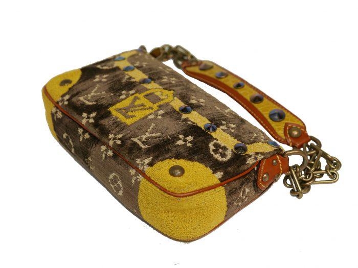 Limited Collection ! Louis Vuitton Monogram Pattern Terrycloth Velvet Trompe L'Oeil Pochette -32289