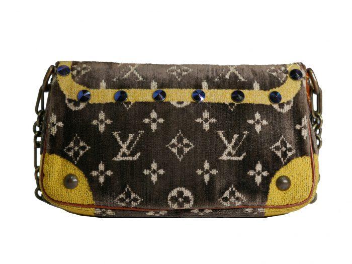 Limited Collection ! Louis Vuitton Monogram Pattern Terrycloth Velvet Trompe L'Oeil Pochette -32290