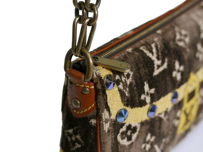 Limited Collection ! Louis Vuitton Monogram Pattern Terrycloth Velvet Trompe L'Oeil Pochette -32291