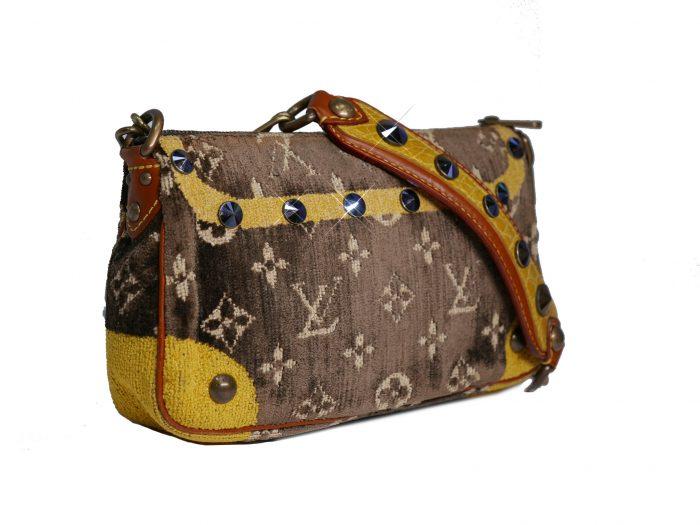 Limited Collection ! Louis Vuitton Monogram Pattern Terrycloth Velvet Trompe L'Oeil Pochette -32294