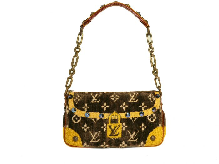 Limited Collection ! Louis Vuitton Monogram Pattern Terrycloth Velvet Trompe L'Oeil Pochette -32295