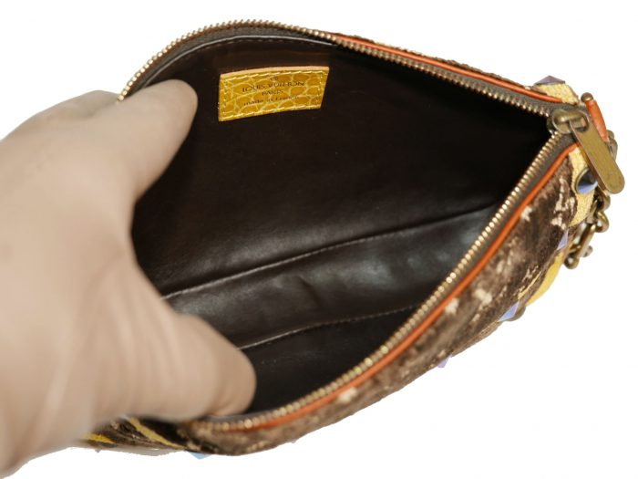 Limited Collection ! Louis Vuitton Monogram Pattern Terrycloth Velvet Trompe L'Oeil Pochette -32296