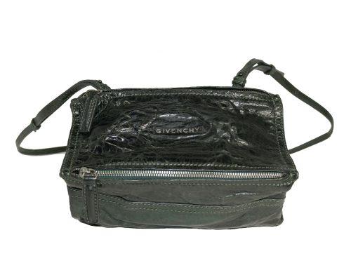 Givenchy Creases Jade Green Sheepskin Mini Pandora Cross-Body bag in Aged Leather-0
