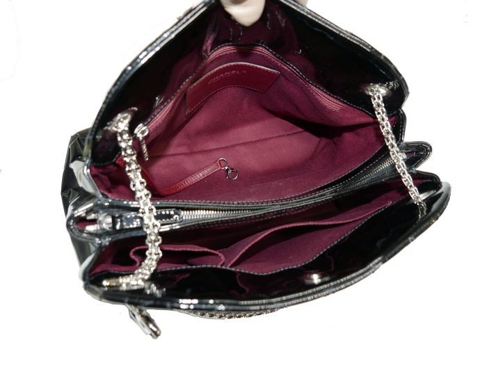 Chanel 14179997 Black Patent Leather Mademoiselle Maxi Bowling Tote with Silver Bijoux Chain -32982