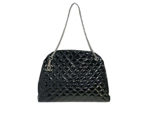 Chanel 14179997 Black Patent Leather Mademoiselle Maxi Bowling Tote with Silver Bijoux Chain -0