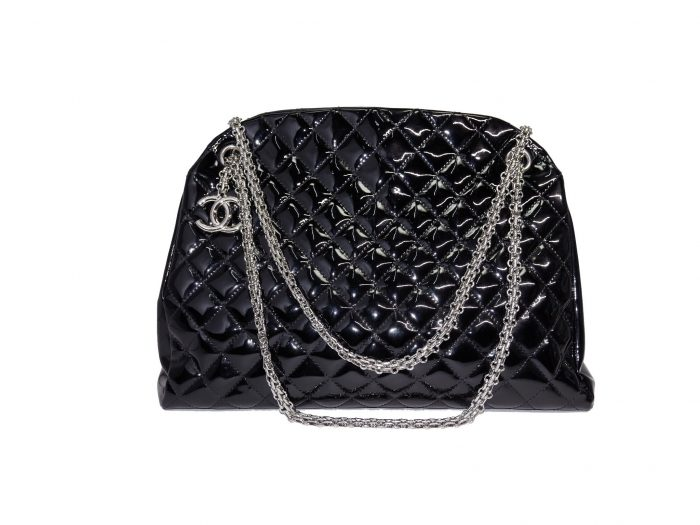 Chanel 14179997 Black Patent Leather Mademoiselle Maxi Bowling Tote with Silver Bijoux Chain -32986