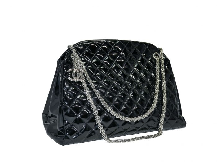 Chanel 14179997 Black Patent Leather Mademoiselle Maxi Bowling Tote with Silver Bijoux Chain -32989
