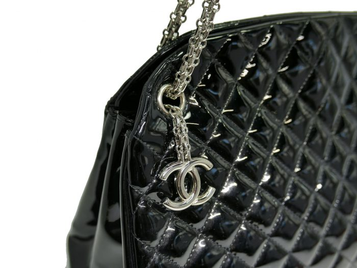 Chanel 14179997 Black Patent Leather Mademoiselle Maxi Bowling Tote with Silver Bijoux Chain -32991