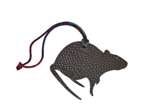 Hermes Petit H Rat PM Black/ Ebene Leather Bag Charm-0
