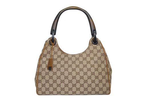 Gucci 106495 Monogram Brown GG Jacquard Wooden Handle Hobo Bag-0