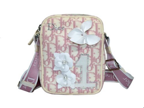 Christian Dior Girly Pink Crystal Blossom Canvas Limited Signature Small Sling Bag-0