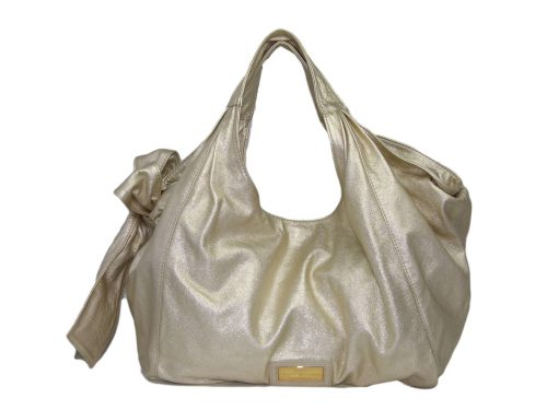 Valentino Nappa Metallic Gold Leather Ribbon/ Big Bow Hobo Large Bag-0