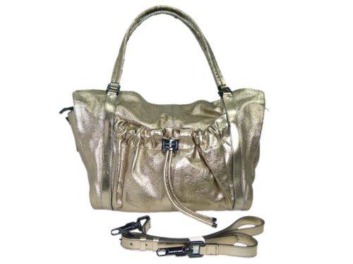 Burberry Bronze/ Metallic Calfskin Farrar Drawstring Gold Leather Large Travel Shoulder Bag-0