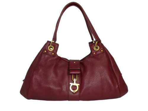 Ferragamo Burgundy Wildboar Zip Top Boston Hobo Bag-0