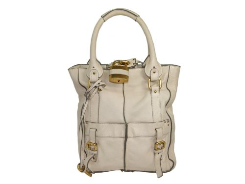 Chloe Beige/ Off White Leather Paddington Vertical Tote -0