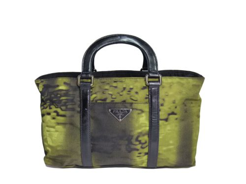 Prada Green Tessuto Nylon Forest with Black Patent Leather Trim Zip Top Small Tote-0
