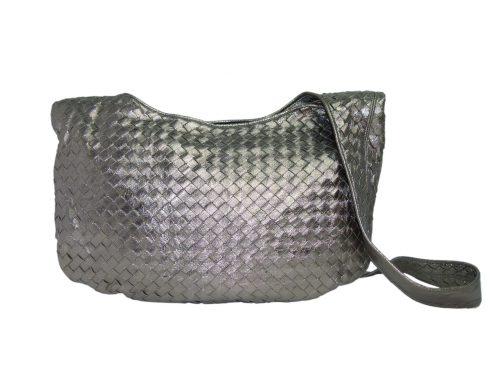 Bottega Veneta Vintage Intrecciato Woven Soft Nappa Leather Metallic Gold/ Silver Hobo Messenger-0