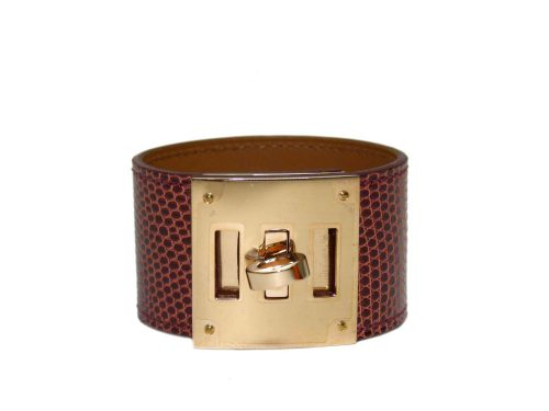 Hermes Lizard Kelly Dog Bracelet Etrusque Color with Rose Gold Hardware-0