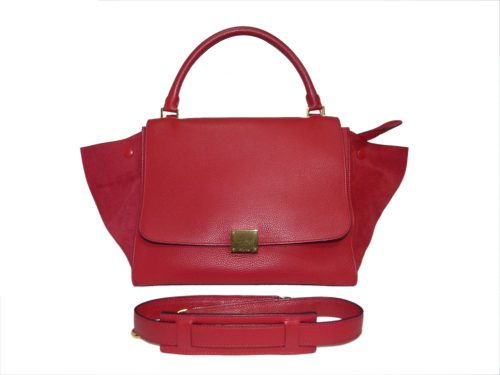 Celine Red Calf / Suede Trapez Medium Gold Hardware-0