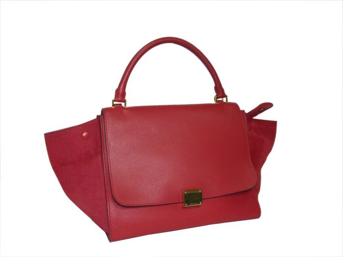 Celine Red Calf / Suede Trapez Medium Gold Hardware-33940