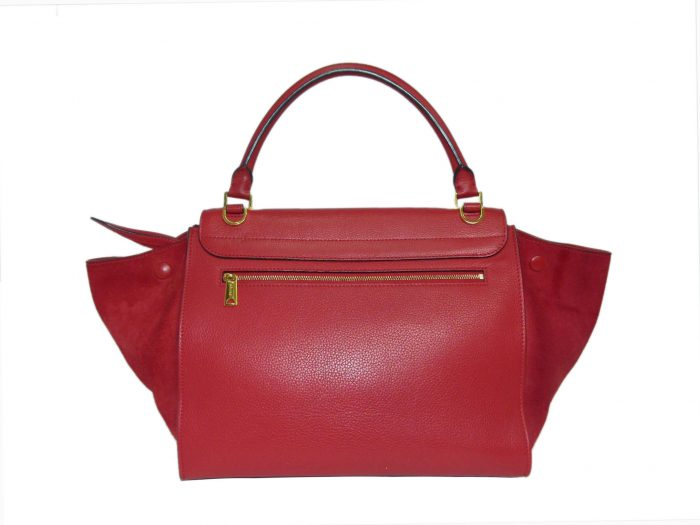 Celine Red Calf / Suede Trapez Medium Gold Hardware-33941