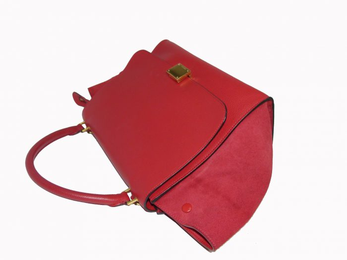 Celine Red Calf / Suede Trapez Medium Gold Hardware-33944