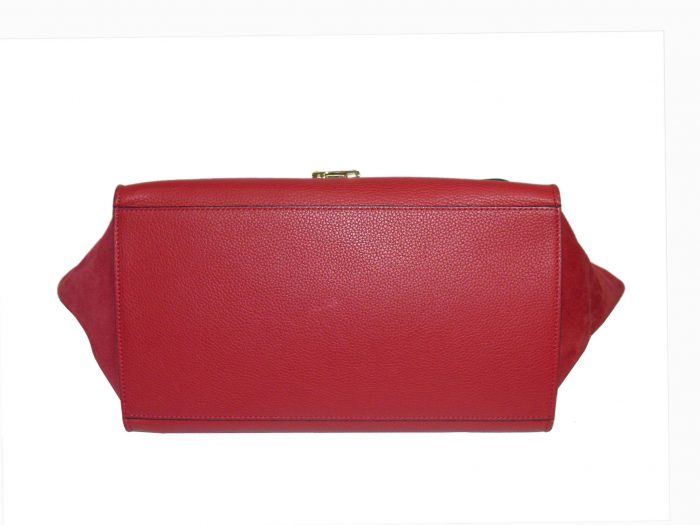Celine Red Calf / Suede Trapez Medium Gold Hardware-33942
