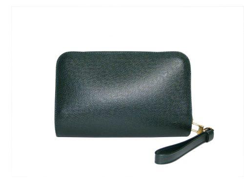 Louis Vuitton M30182 Ardoise/ Green Taiga Leather Pochette Baikal Clutch Bag-0